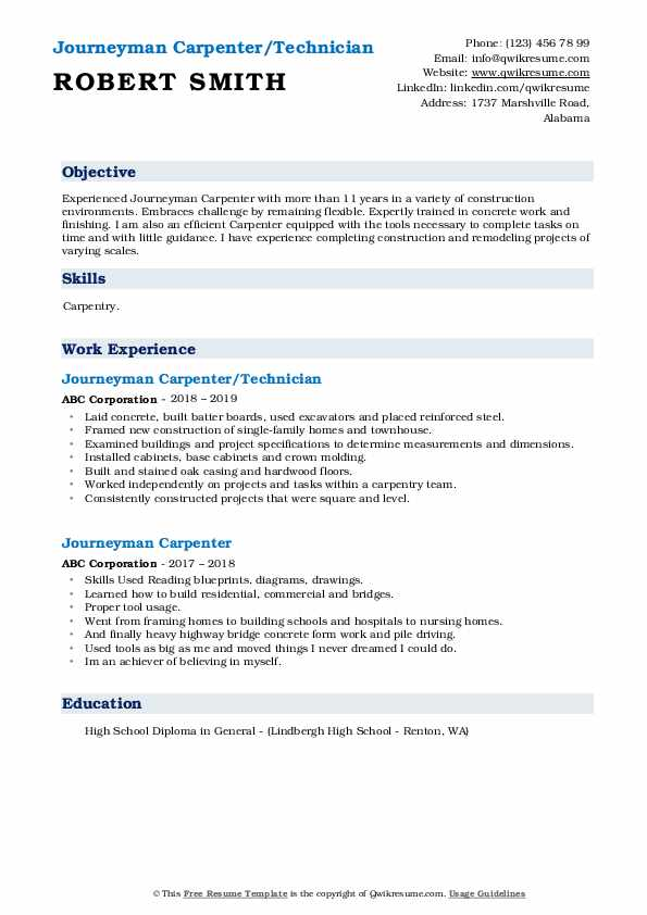 Journeyman Carpenter/Technician Resume Sample