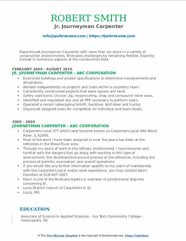 Jr. Journeyman Carpenter Resume Template