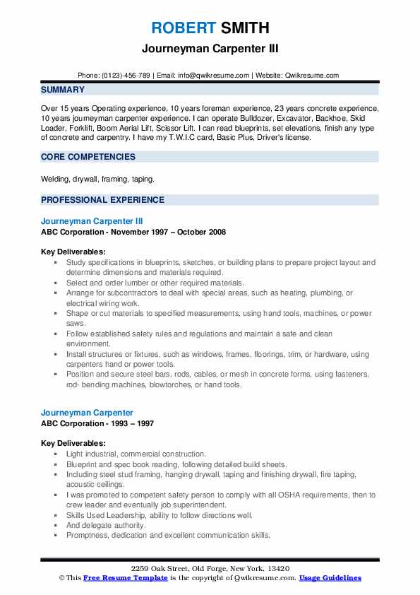 Journeyman Carpenter Resume example