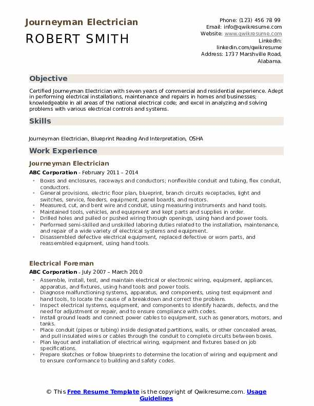 Journeyman Electrician Resume Samples Qwikresume