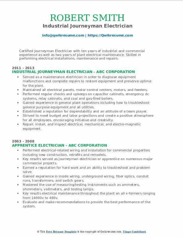 Industrial Journeyman Electrician Resume Format