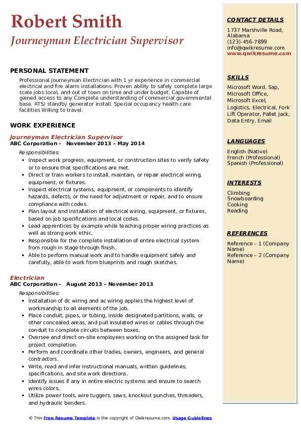 Journeyman Electrician Supervisor Resume Model
