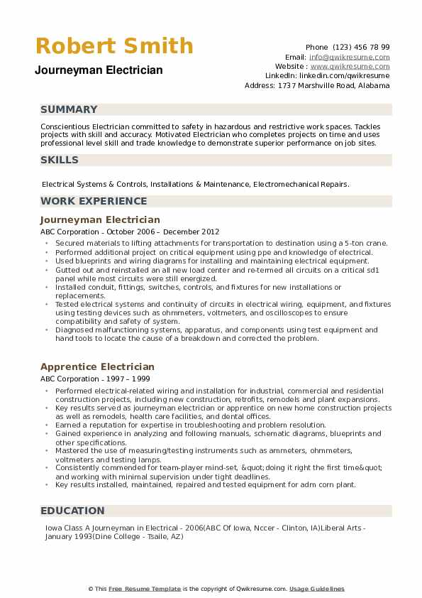Journeyman Electrician Resume Samples | QwikResume