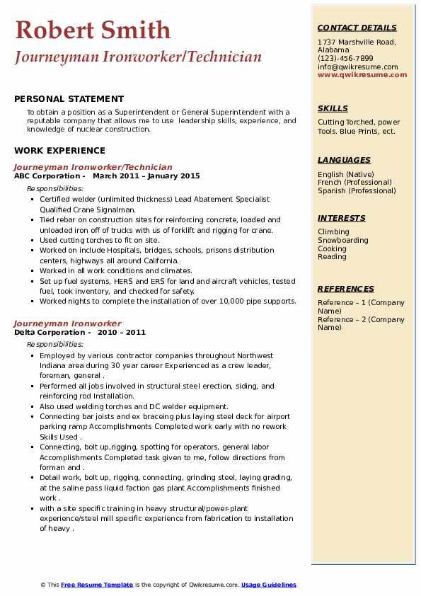 journeyman ironworker resume samples  qwikresume