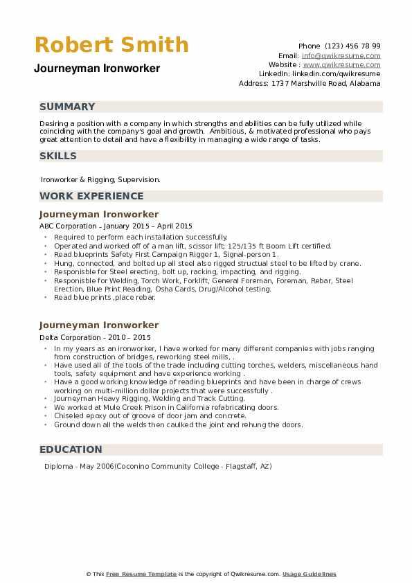 Journeyman Ironworker Resume example