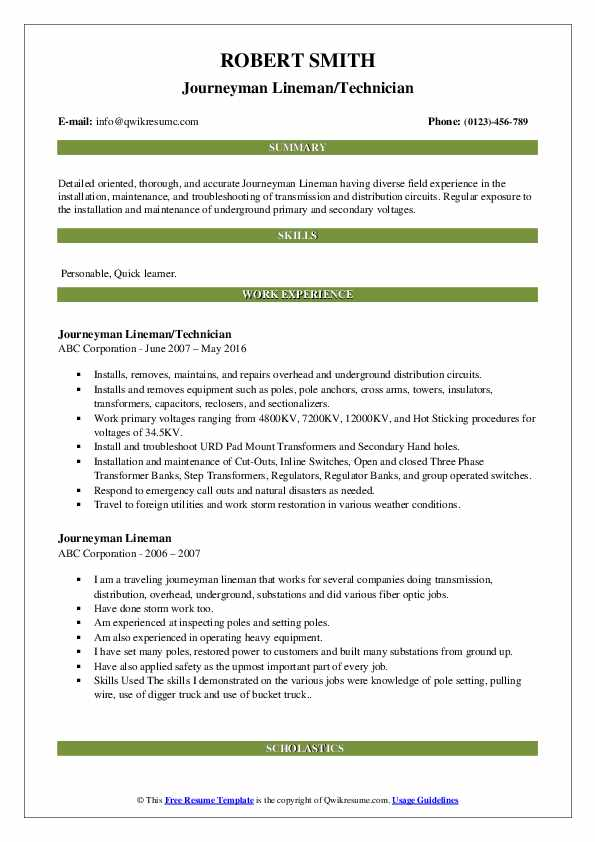 Journeyman Lineman Resume Examples   JobHero