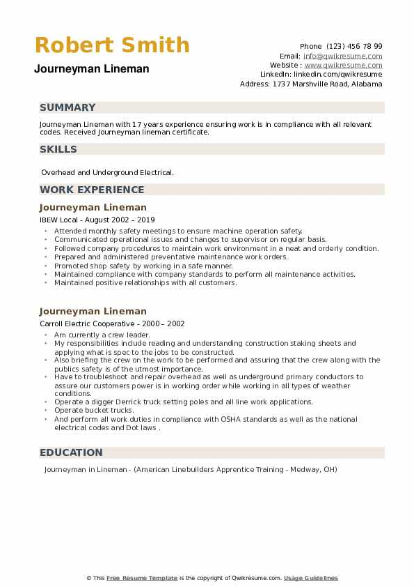 Journeyman Lineman Resume example