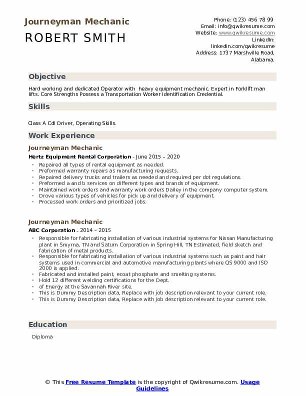 Journeyman Mechanic Resume example
