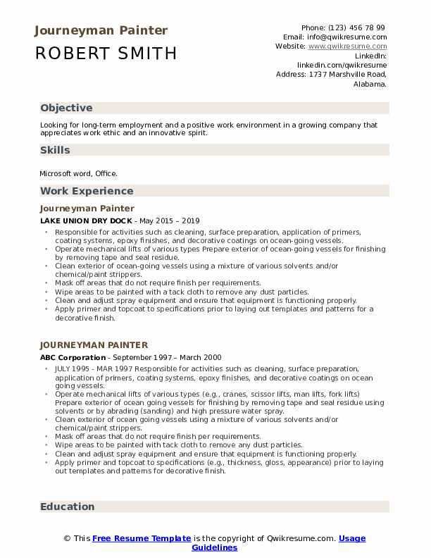 Journeyman Painter Resume Sample
