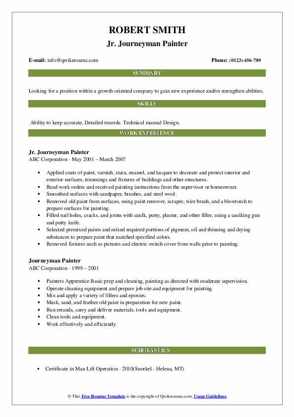 journeyman painter resume samples