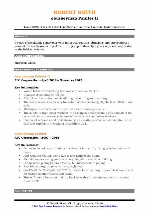 Journeyman Painter II Resume Model