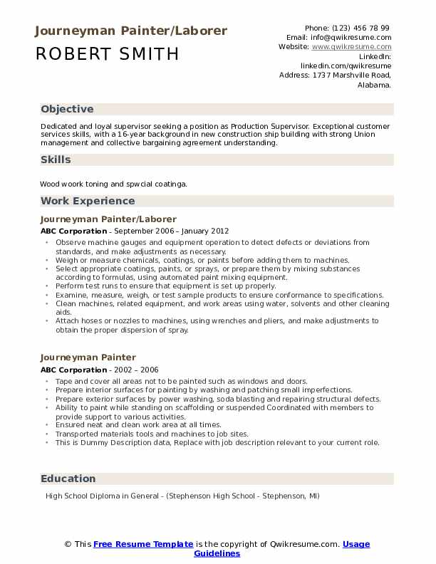 Journeyman Pipefitter Resume Samples Qwikresume