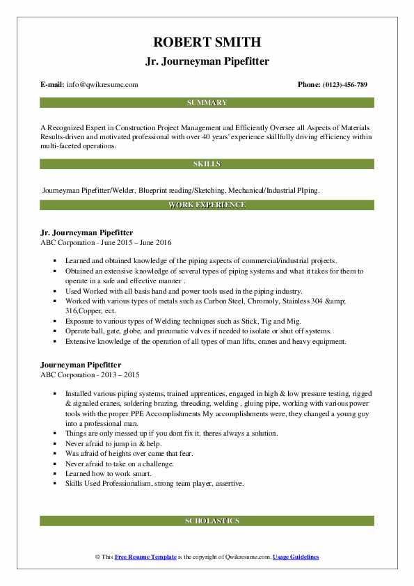 Jr. Journeyman Pipefitter Resume Sample