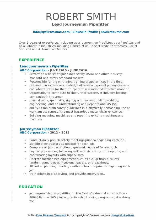 Lead Journeyman Pipefitter  Resume Example