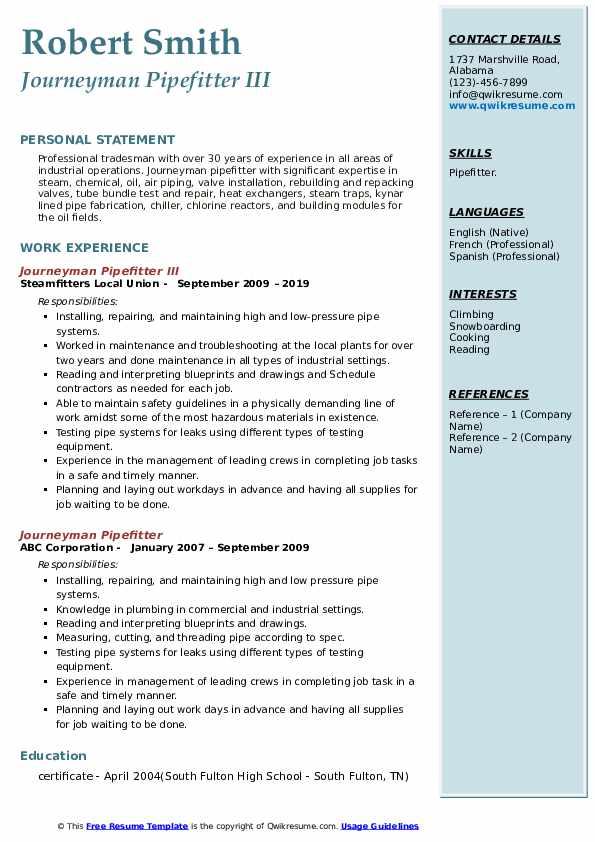 Journeyman Pipefitter III Resume Model