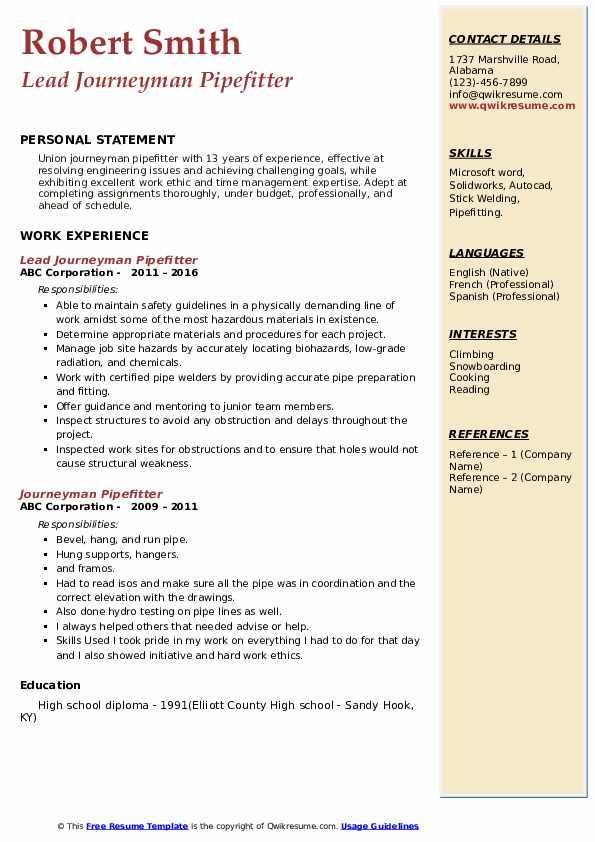 Lead Journeyman Pipefitter Resume Format