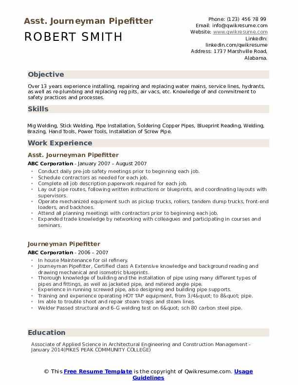 Asst. Journeyman Pipefitter Resume Template