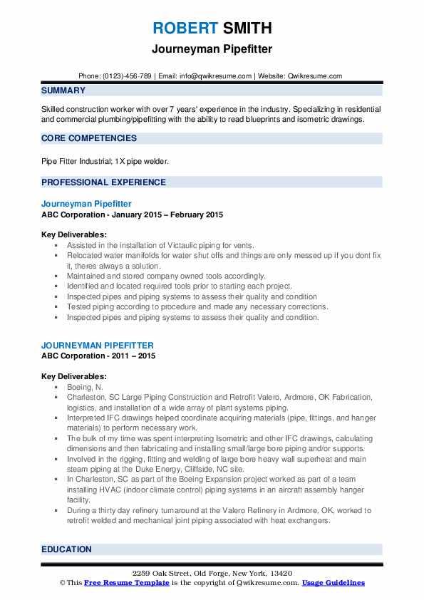 Journeyman Pipefitter Resume example