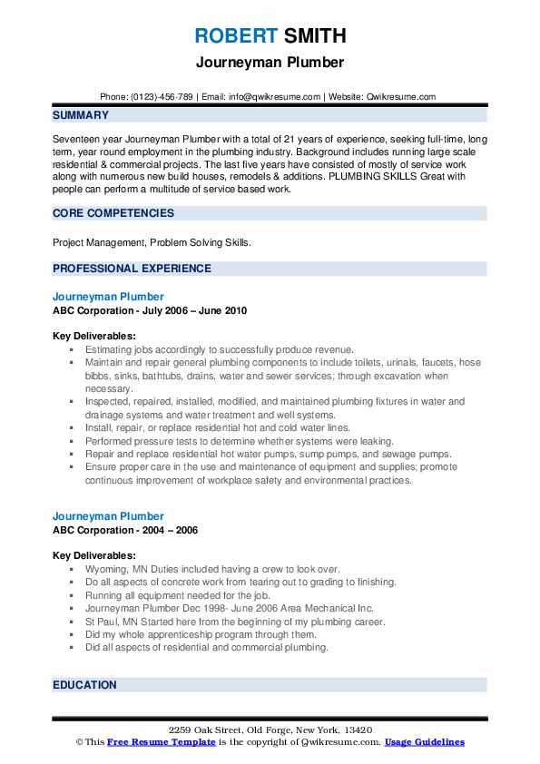 Journeyman Plumber Resume example