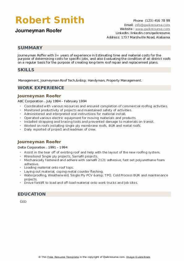 Journeyman Roofer Resume example