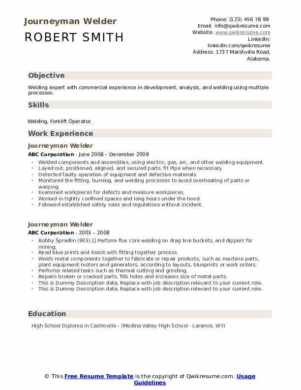 Journeyman Welder Resume example