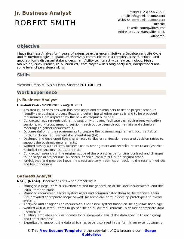 Jr Business Analyst Resume Template