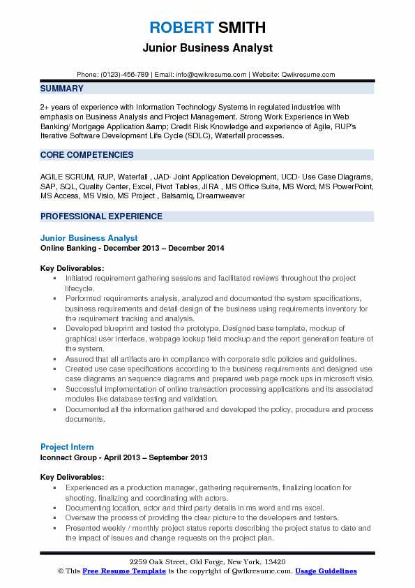 Jr business analyst resume samples qwikresume for Office junior job description template