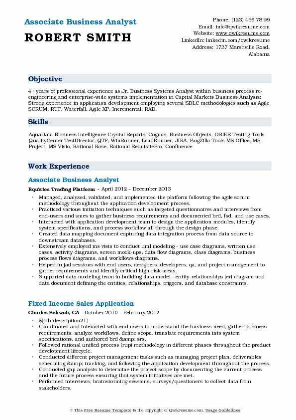 Associate Business Analyst Resume Model