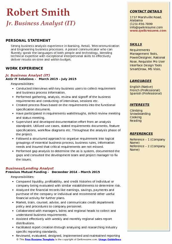 Jr. Business Analyst (IT) Resume Sample