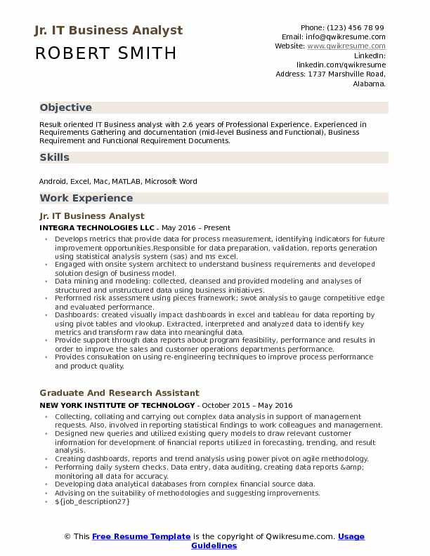 Jr Business Analyst Resume Example