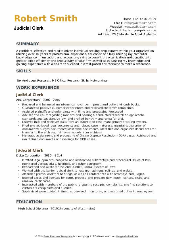 Judicial Clerk Resume example