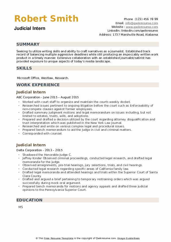 Judicial Intern Resume example