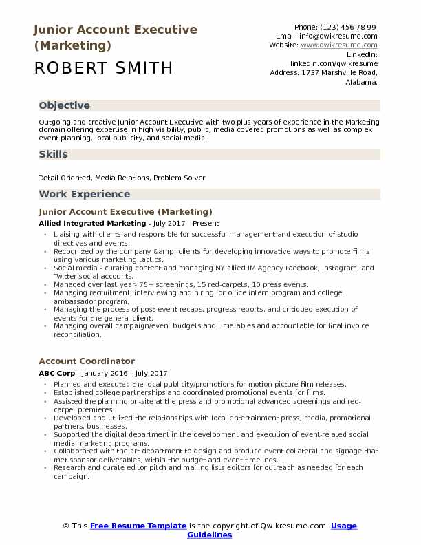 Junior Account Executive (Marketing) Resume Sample