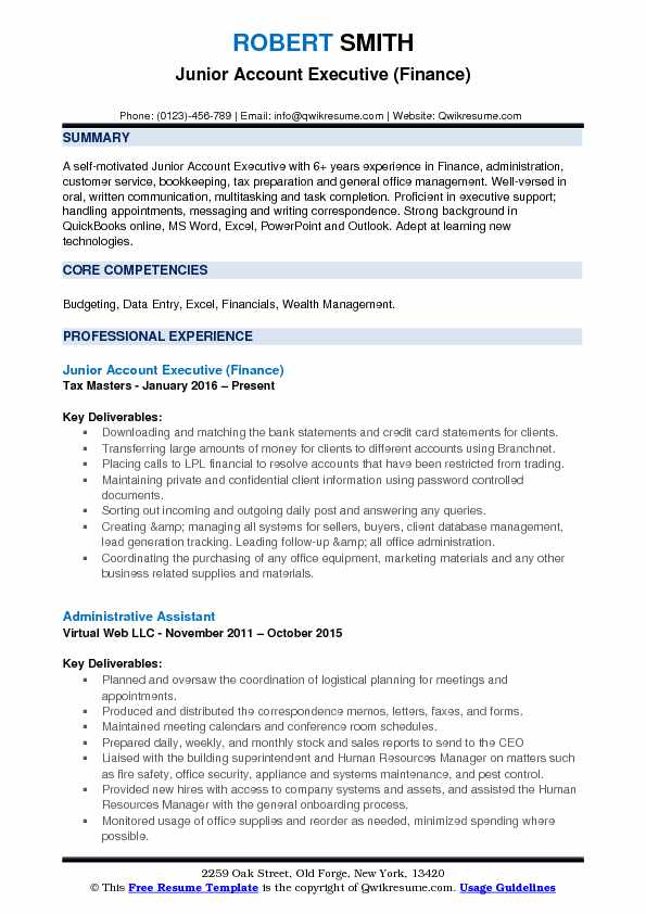 Junior Account Executive Resume Samples