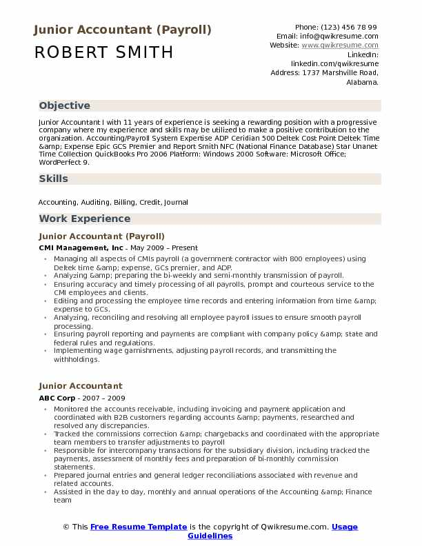 Junior Accountant (Payroll) Resume Model