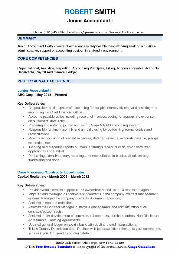 Junior Accountant I Resume Sample