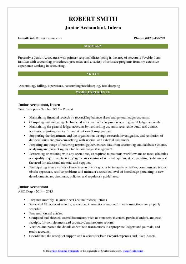 Junior Accountant, Intern Resume Sample