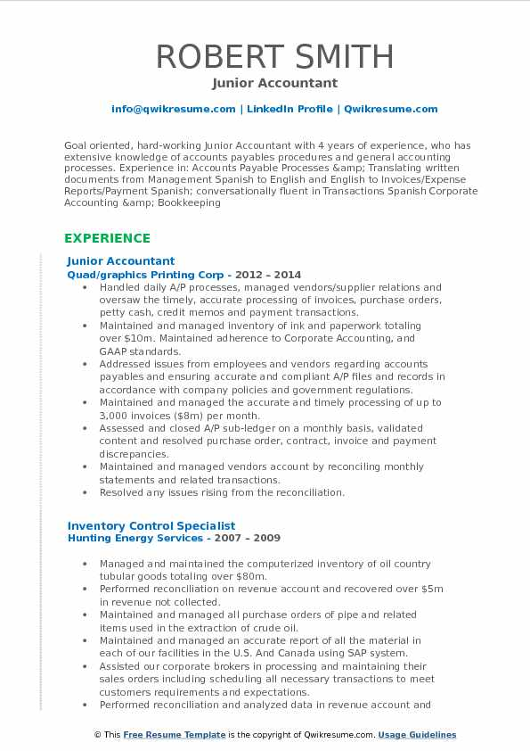 Junior Accountant Resume Format