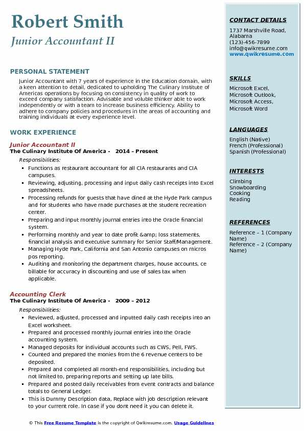 Junior Accountant II Resume Example