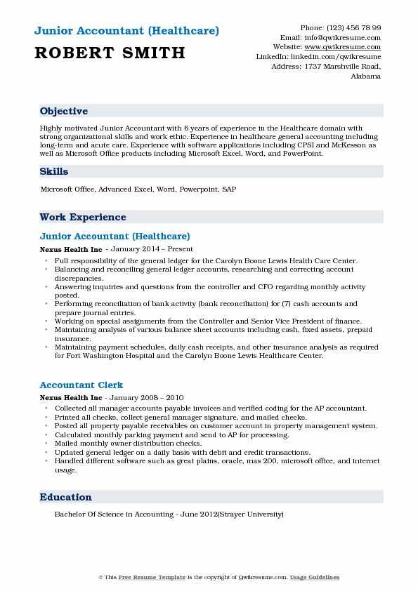 junior accountant resume samples