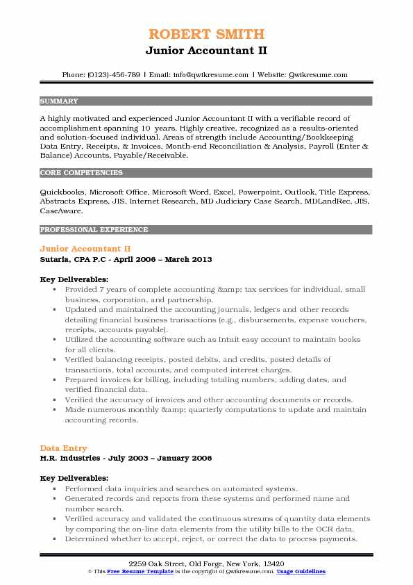 Junior Accountant II Resume Model
