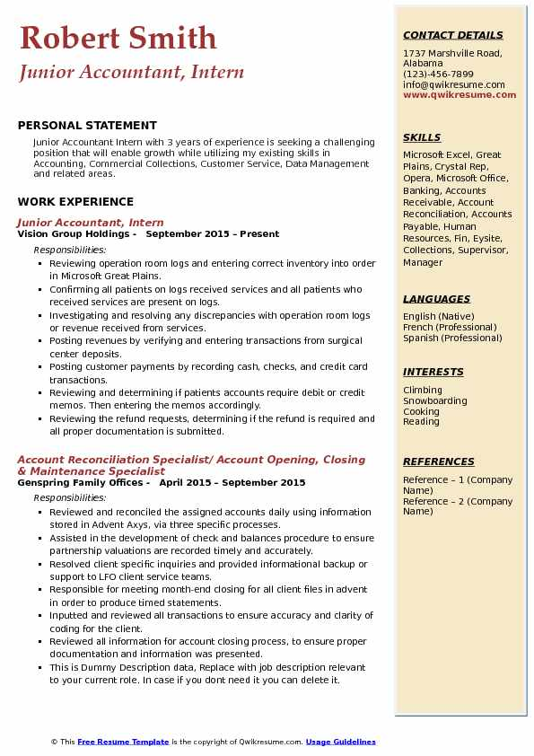 Junior Accountant, Intern Resume Model