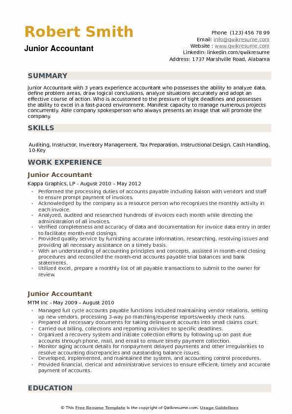 Junior Accountant Resume Samples | QwikResume