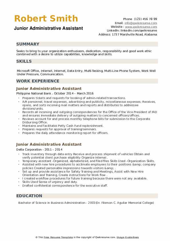 Junior Administrative Assistant Resume example
