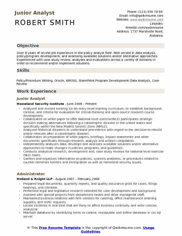 Junior Analyst Resume Samples Qwikresume