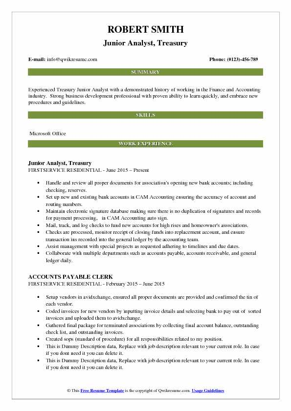 Junior Analyst, Treasury Resume Template