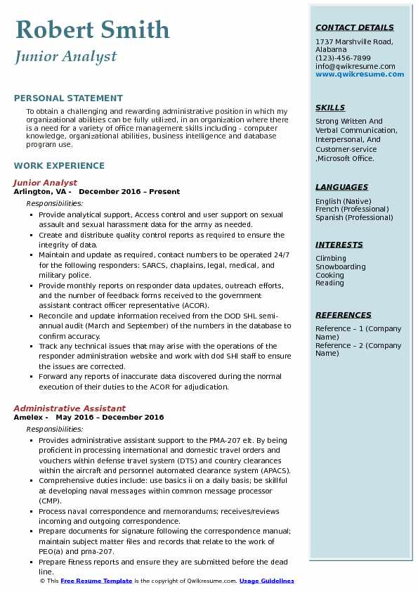 Junior Analyst Resume Example
