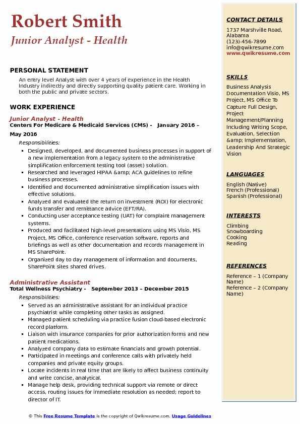 Junior Analyst - Health Resume Model