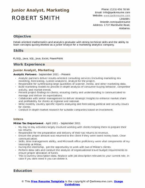Junior Analyst, Marketing Resume Model