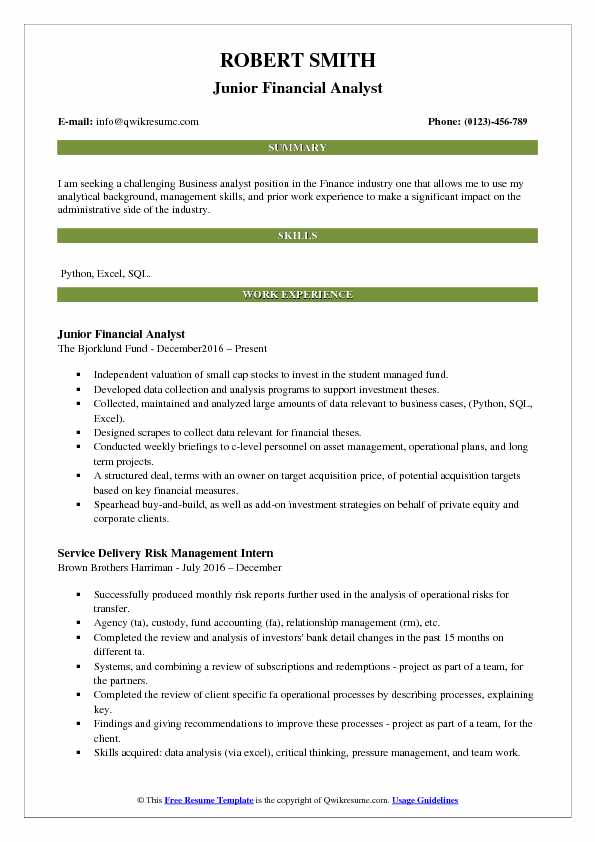 Junior Financial Analyst Resume Template